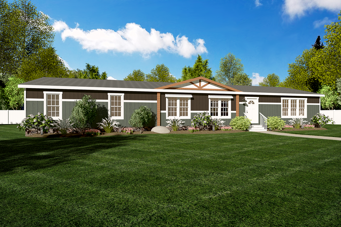 The THE SWEETWATER Exterior. This Manufactured Mobile Home features 4 bedrooms and 2 baths.